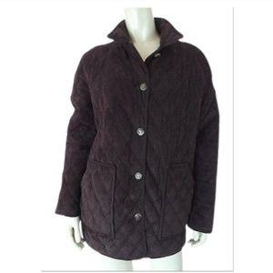 Ralph Lauren Coat M Quilted Faux Suede Equestrian